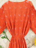SALE - Indian Peacock Drawstring Wide Leg Jumpsuit - Orange/Red - Size XL