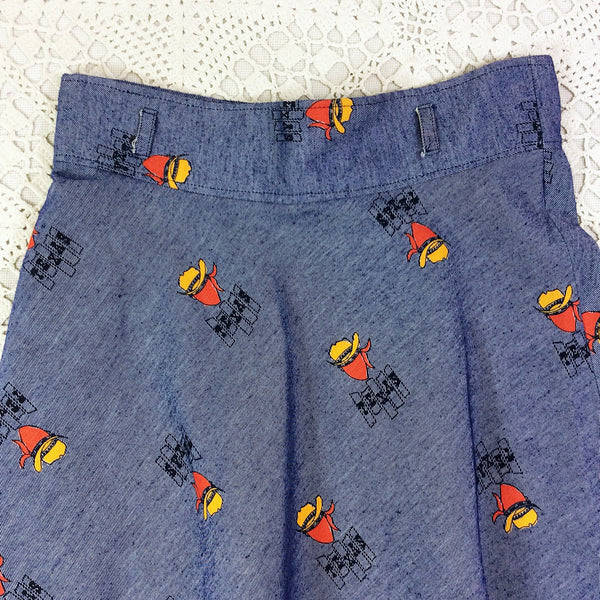 Vintage Denim Skirt - Indigo with Cowboy Print - Size S/M