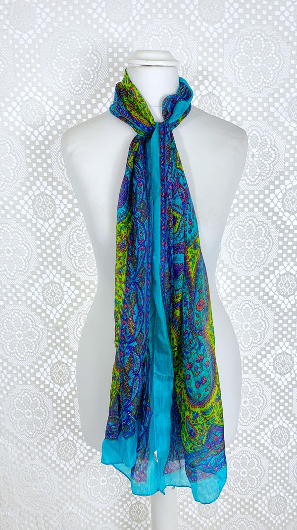 Pure Silk Indian Scarf - Turquoise & Green