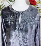 Vintage Velvet Embroidered Long Sleeve Top - Silver & Pewter - Size S/M