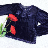 Vintage Velvet Embroidered Long Sleeve Top - Midnight & Ivory - Size S