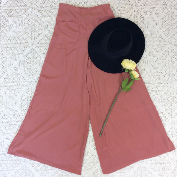 Block Colour Wide Flares with Pockets - Dusky Rose Pink Silk Mix - S/M