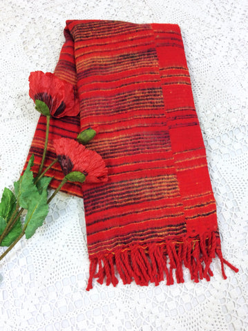 Crimson Red, Black & Mustard Striped Indian Shawl/Blanket