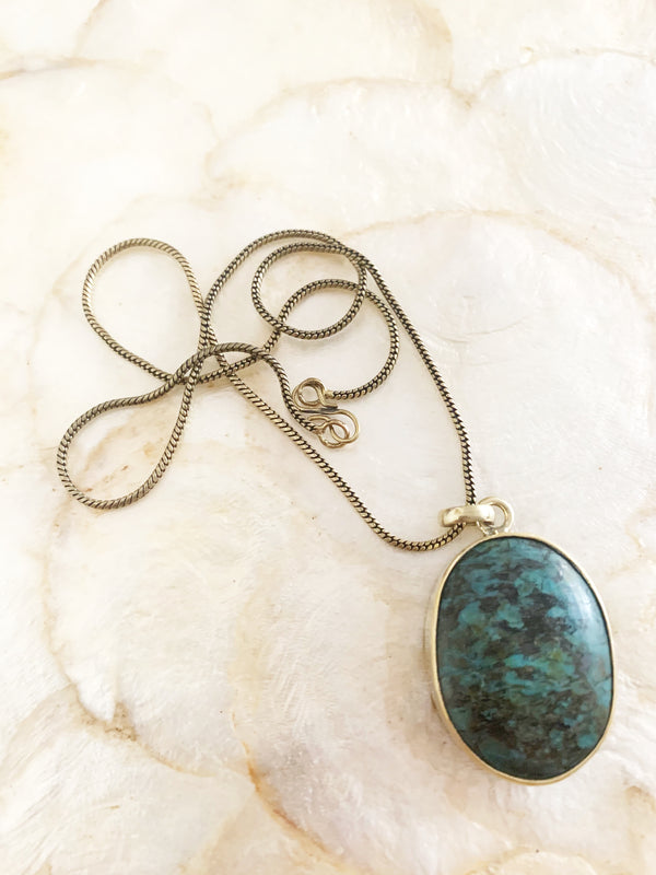 Gold   Brass Blue Turquoise Stone Necklace Pendant