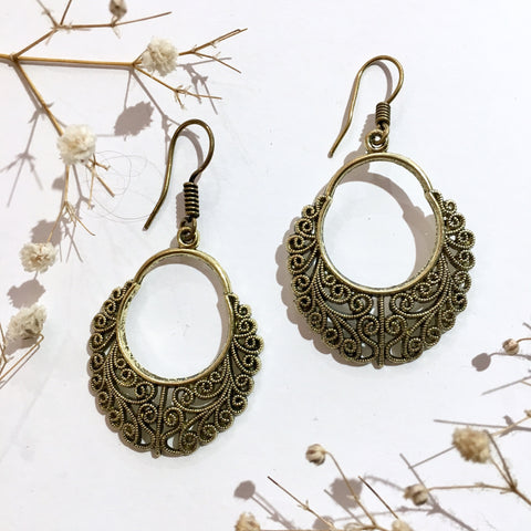 Gold Colour Brass Dangly Swirl Earrings