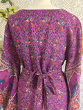 Purple Peacock Paisley Cotton - Maxi Button Down Dress/Kimono - S/M