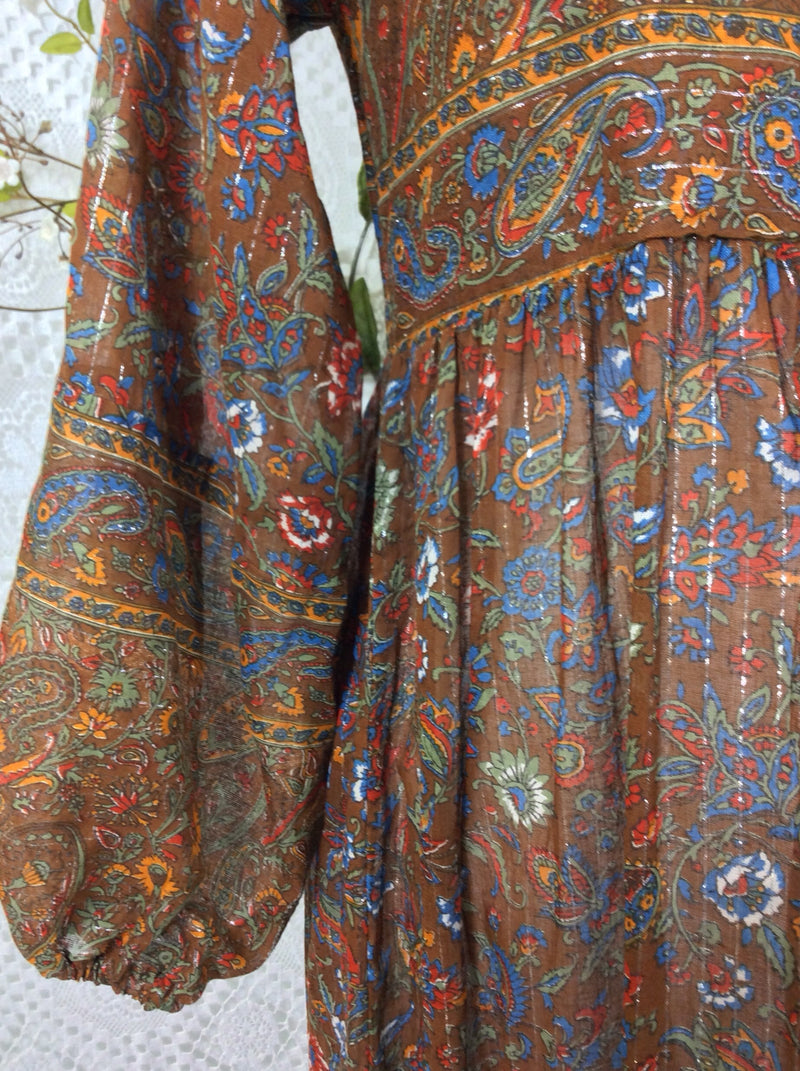SALE Florence Dress - Sparkly Indian Cotton Smock Dress - Chestnut & Cobalt Floral Paisley - Size XS