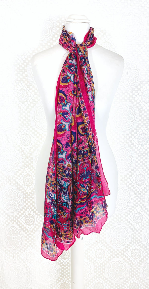 Pure Silk Indian Scarf - Bright Pink