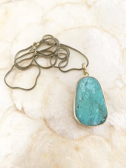 Gold Coloured Turquoise Necklace Pendant