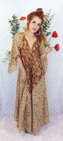 Goddess Dress - Vintage Pure Silk Indian Kaftan - Wheat Peach & Sangria Floral  - Free Size M/L