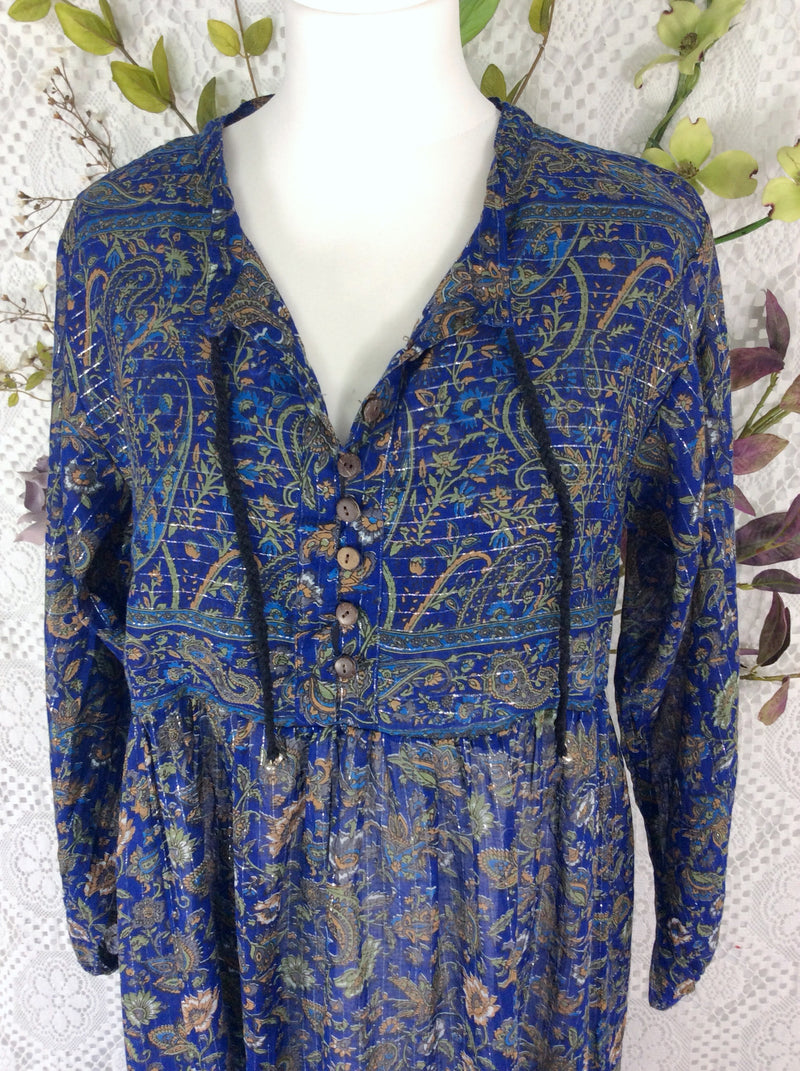 Florence Dress - Sparkly Indian Cotton Smock Dress - Midnight Blue & Sage - Size S/M