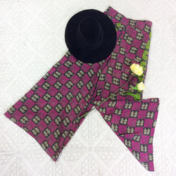 High Waisted Flares with Pockets - Silk Sari Mix - Charcoal & Cerise Chequered Floral - S/M