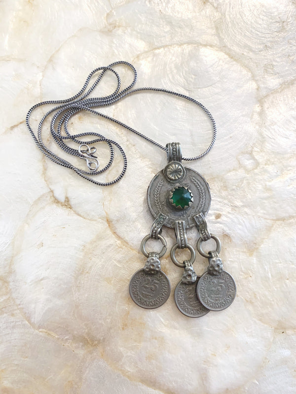 Vintage Green Stone Afghan Kuchi Necklace Pendant
