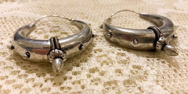 Large Silver Plated Brass Hoop Earrings