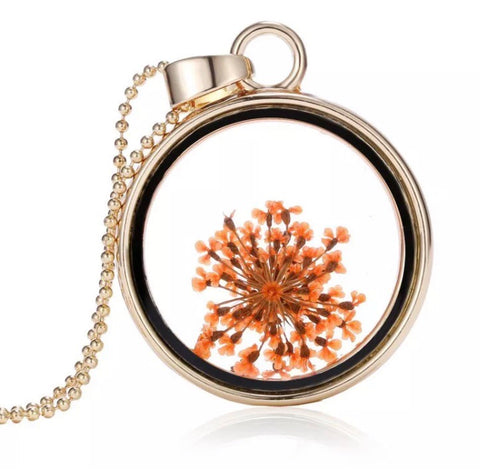 Boho  dried flower pendant necklace - Orange