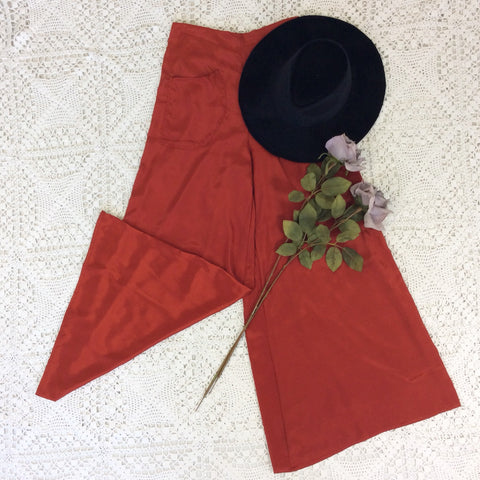 Block Colour Wide Flares with Pockets - Autumn Red Silk Mix - M/L