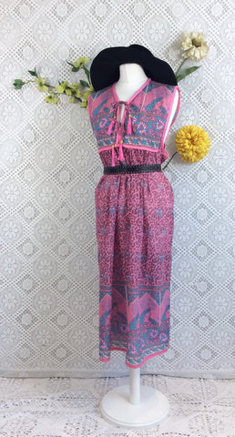 Pink/Blue/Grey Peacock Sleeveless Midi Smock Dress - Size M/L