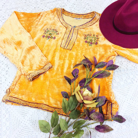 Vintage Velvet Embroidered Long Sleeve Top - Flame Orange - Size S