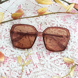 Chunky Pecan Hexagonal Sunglasses