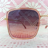Soft Pink & Gold Oversized Sunglasses