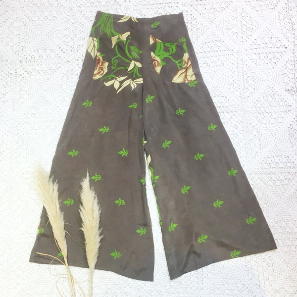 High Waisted Flares with Pockets - Vintage Indian Sari - Charcoal Rose Floral - M/L