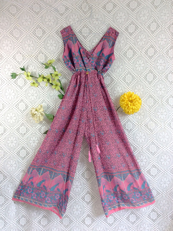 SALE - Indian Peacock Sleeveless Jumpsuit - Pink/Lilac/Blue/Grey - Size XL