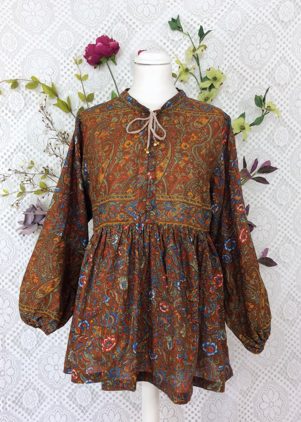 Florence Gypsy Smock Top - Chestnut Fire & Cobalt Paisley Floral Copper Sparkly Thread (XL)