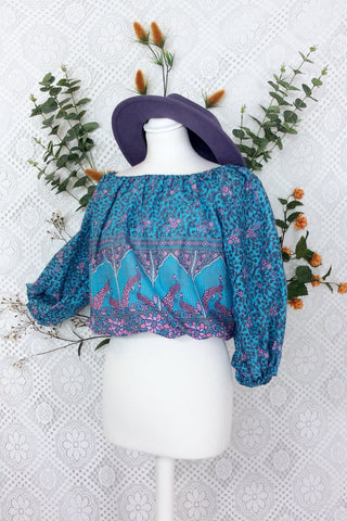 Indian Cotton Gypsy Top (Free Size) Blue, Lilac & Pink Paisley Peacock