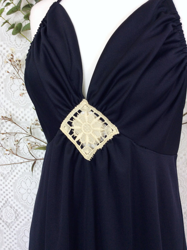 Vintage Maxi Gown Dress - Strappy Black 70s with Embroidery Panel - S/M
