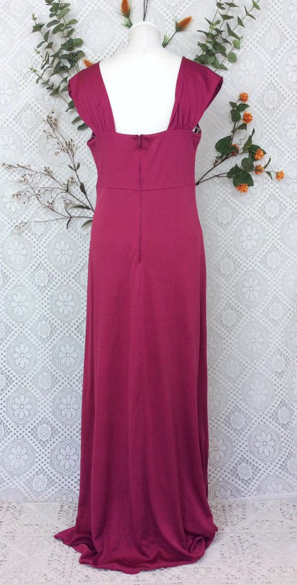Vintage Maxi Gown Dress - Raspberry Pink Prom Dress - M/L