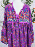 Purple & Blue Indian Peacock Paisley Midi Smock Dress - Size S/M