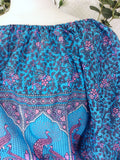 Blue, Lilac & Pink Paisley Peacock - Indian Cotton Gypsy Top (Free Size)