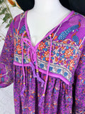 Purple & Blue Indian Peacock Paisley Midi Smock Dress - Size M/L
