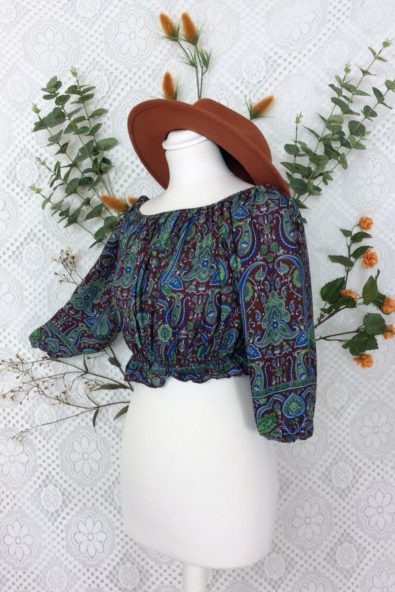 Gypsy Crop Top (free size) Garnet Lapis & Green Floral Paisley