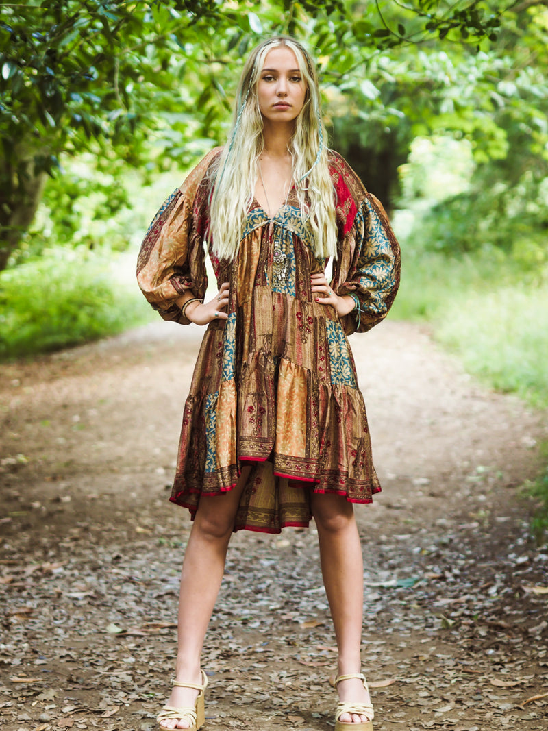 Gypsophila Mini Dress - Vintage Indian Sari -  Ruby & Fawn Patchwork Floral Jacquard - M/L