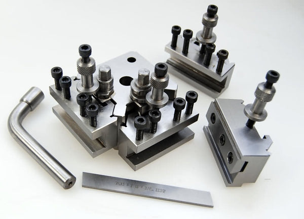 Quick change tool post set for 115mm to 127mm center height