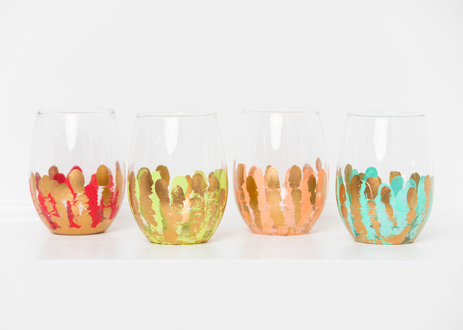 Multicolor Stemless Glass (Set of Four)