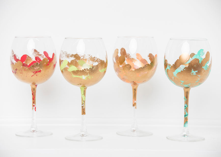 Multicolor Stemmed Glass (Set of Four)