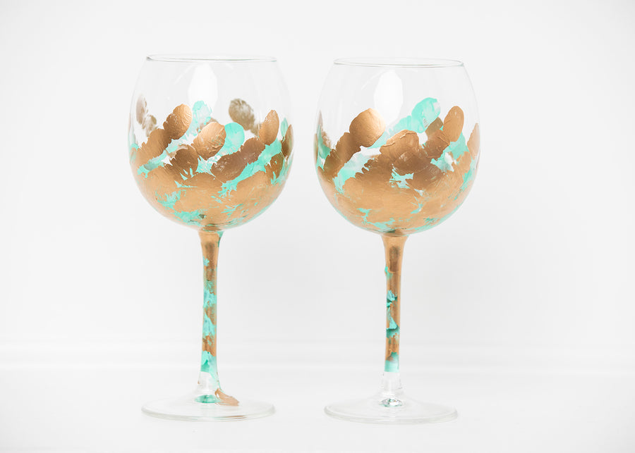 Turquoise Stemmed Glass