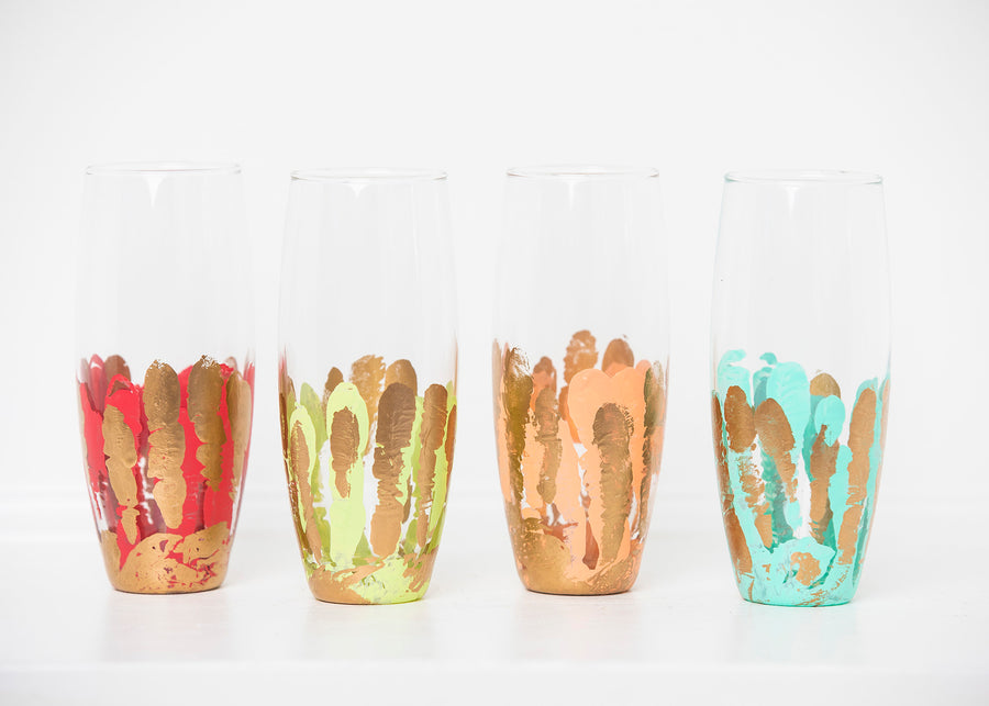Multicolor Stemless Flute (Set of Four)