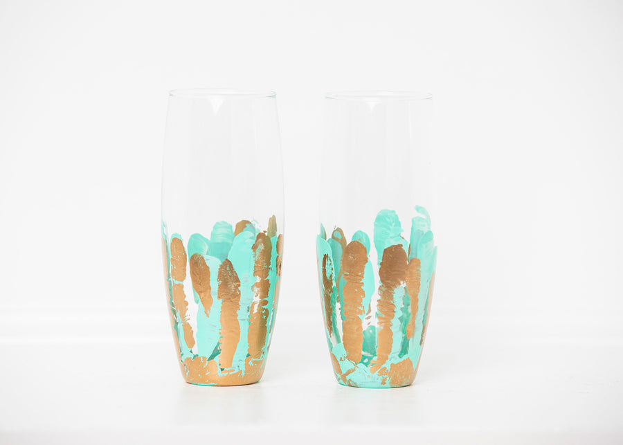 Turquoise Stemless Flute