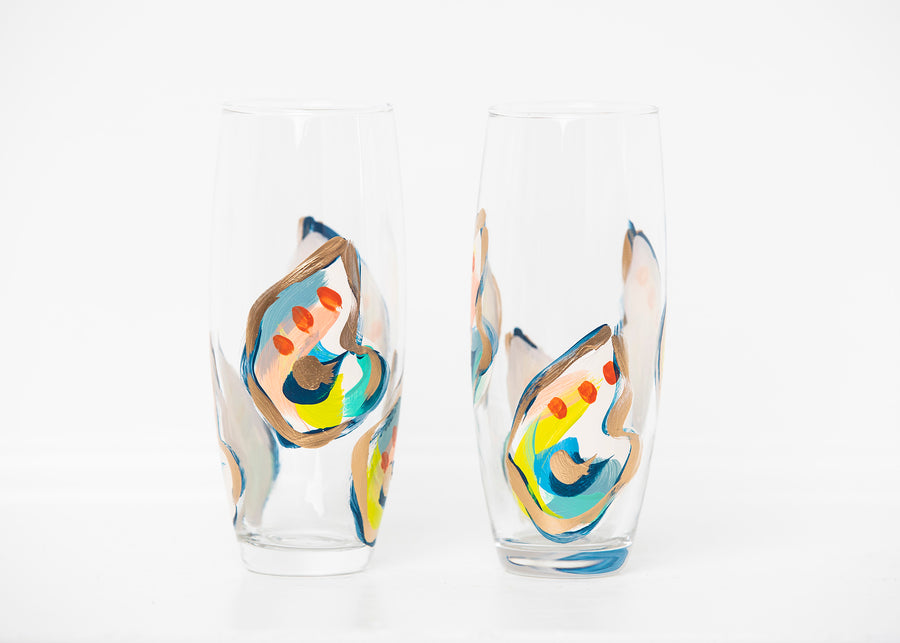 Jazzy Oyster Mini Shell Stemless Flute