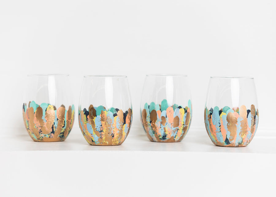 Pastel Confetti Stemless Glass