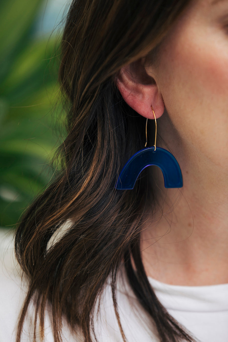 Transparent Rainbow + Wire Earrings | Dark Blue