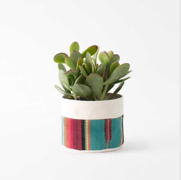 Small Natural Canvas Planter | Turquoise