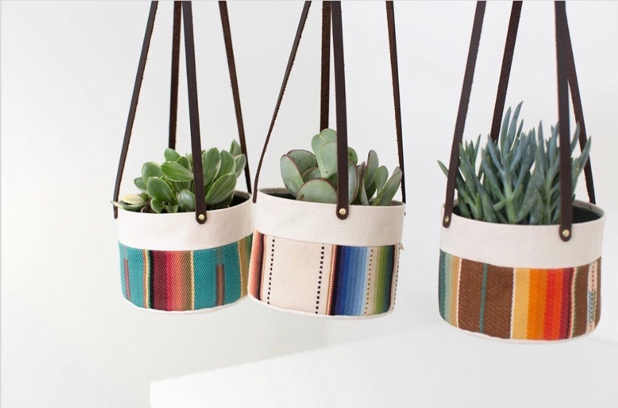 Medium Natural Canvas Hanging Planter | Indigo