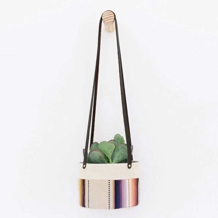 Medium Natural Canvas Hanging Planter | Tan Stripe