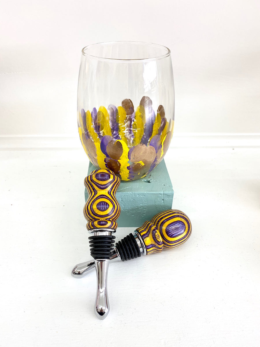 Bottle Stopper | Purple + Yellow 01