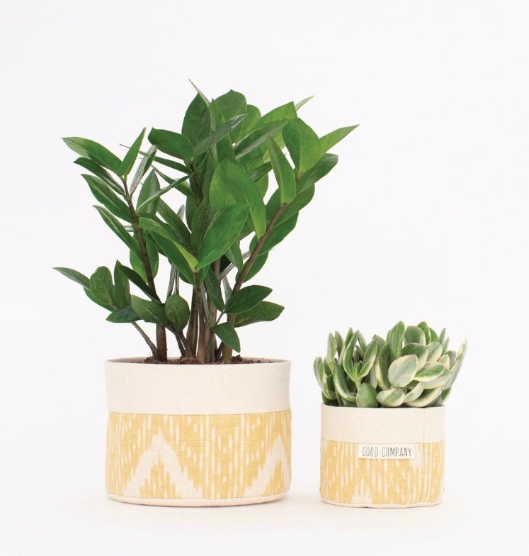 Medium Natural Canvas Sitting Planter | Orange
