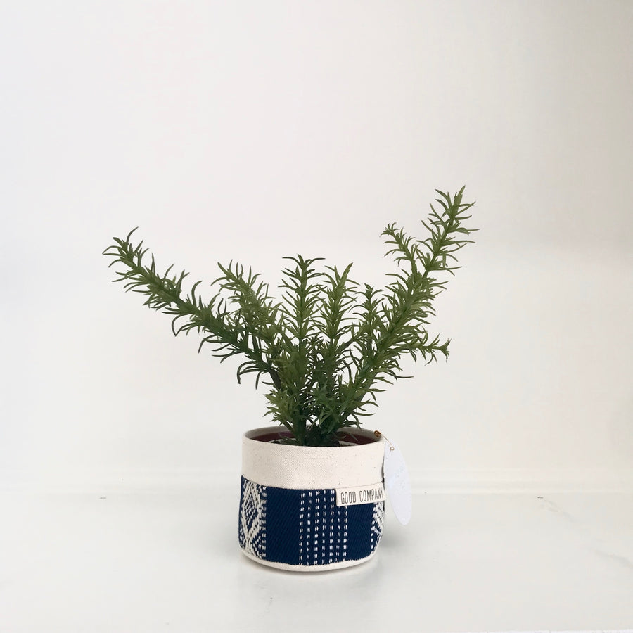 Small Natural Canvas Planter | Indigo